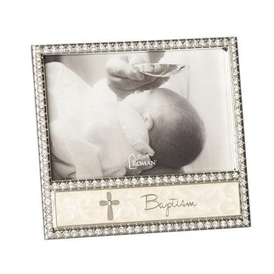 Baptism Picture Frame with Rhinestone Cross (4 x 6