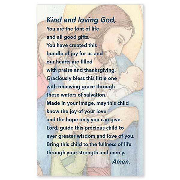 Baptism Greeting Card by Sr. Sophia Becker featuring image of Jesus with children.