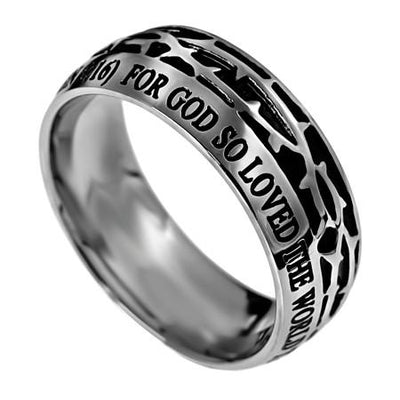 Men's Crown of Thorns Ring John 3:16 - Unique Catholic Gifts