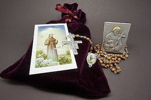 Saint Francis Icon, Rosary,Prayer Card & Bag - Unique Catholic Gifts