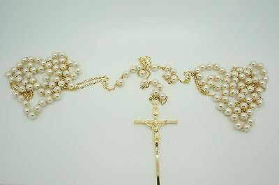 Wedding Lasso Rosary Gold Crystal Pearls