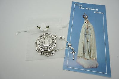 St Saint Benedict Bracelet, Bag and prayer - Unique Catholic Gifts