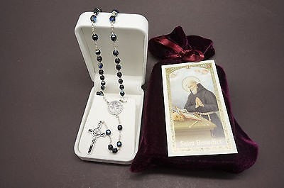 St Saint Benedict Elegant Rosary and Prayer - Unique Catholic Gifts