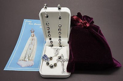 "Authentic Black Cloisonne Rosary 22""  and Prayer - Unique Catholic Gifts"