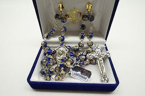 "Authentic Blue Cloisonne Rosary 22"", 8MM,Italian and Prayer - Unique Catholic Gifts"