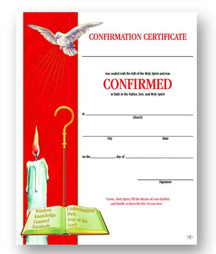 "8""x10"" Certificate of Confirmation (50) - Unique Catholic Gifts"