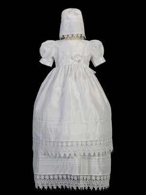 Baptismal Dress with Fancy Lace Edge White( Small) - Unique Catholic Gifts
