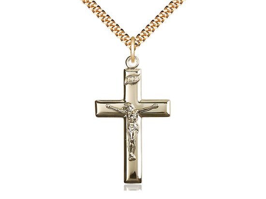 14kt Gold Filled Crucifix Pendant on a 24 inch Gold Plate Heavy Curb Chain - Unique Catholic Gifts