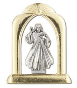 Divine Mercy Gold and Silver Standing Plaque - Unique Catholic Gifts
