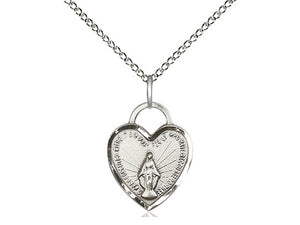 Sterling Silver Miraculous Heart Pendant on a 18 inch Sterling Silver Light Curb Chain - Unique Catholic Gifts