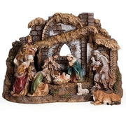 "10 Piece Nativity with Stable  11"" x 16"" - Unique Catholic Gifts"