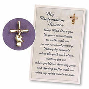 Gold Confirmation Sponser Cross/dove Pin Carded - Unique Catholic Gifts