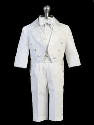 Satin Tailed Baptism Tuxedo Set. Jacket with Embroider on the Back, (2T)
