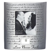 "Love Never Fails Wedding Anniversary Standing Picture Frame with Silver Rings (7 x 6 1/2 "") - Unique Catholic Gifts"