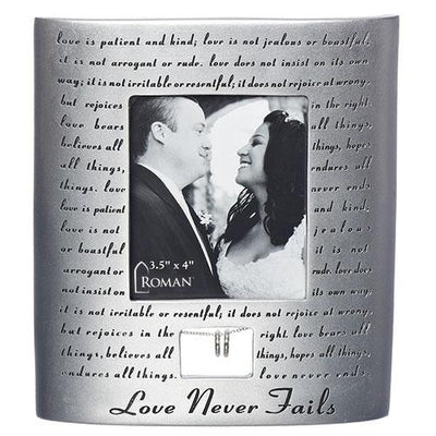 Love Never Fails Wedding Anniversary Standing Picture Frame with Silver Rings (7 x 6 1/2