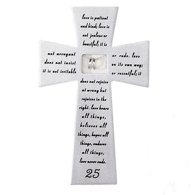 25th Wedding Anniversary Wall Cross with Silver Rings (7