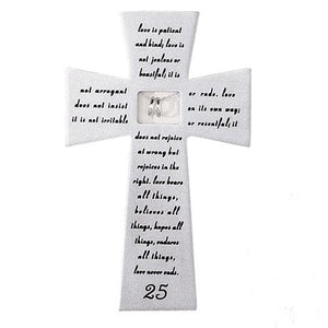 "25th Wedding Anniversary Wall Cross with Silver Rings (7"") - Unique Catholic Gifts"
