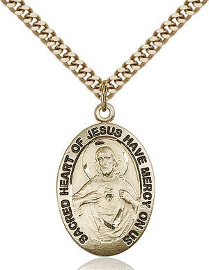 14kt Gold Filled Scapular Pendant on a 24 inch Gold Plate Heavy Curb Chain - Unique Catholic Gifts