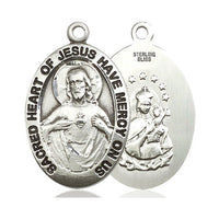 Sterling Silver Scapular Pendant on a 24 inch Light Rhodium Heavy Curb Chain - Unique Catholic Gifts