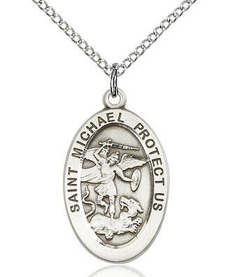 Sterling Silver St. Michael the Archangel Medal 7/8