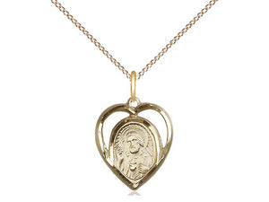 14kt Gold Filled Scapular Pendant on a 18 inch Gold Filled Light Curb Chain - Unique Catholic Gifts