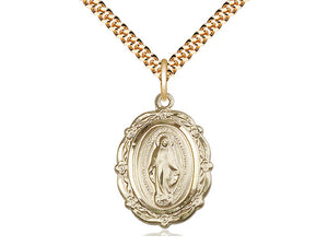14kt Gold Filled Miraculous Pendant on a 24 inch Gold Plate Heavy Curb Chain. - Unique Catholic Gifts