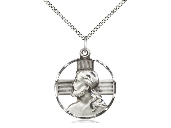 Sterling Silver Head of Christ Pendant on a 18 inch Sterling Silver Light Curb Chain - Unique Catholic Gifts