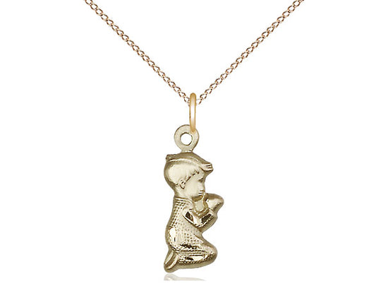14kt Gold Filled Praying Boy Pendant on a 18 inch Gold Filled Light Curb Chain - Unique Catholic Gifts