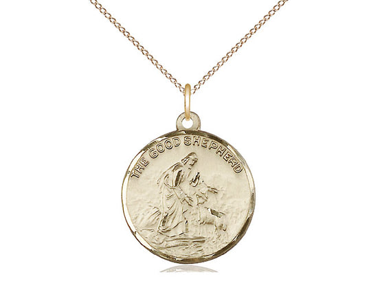 14kt Gold Filled Good Shepherd Pendant on a 18 inch Gold Filled Light Curb Chain - Unique Catholic Gifts