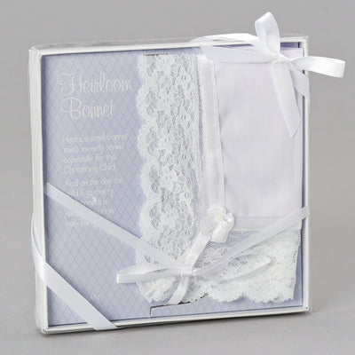 Baptism Bonnet and  Wedding Handkerchief Heirloom - Unique Catholic Gifts