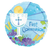 "18""Blue First Communion Balloon - Unique Catholic Gifts"