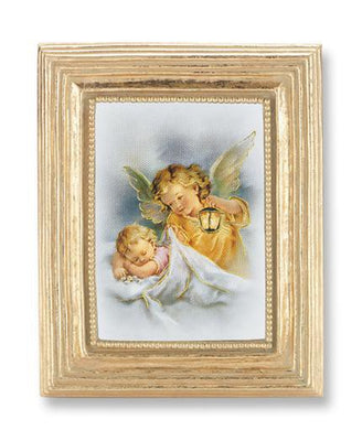 Guardian Angel Gold Stamped Print under Glass in a Gold Leaf Frame