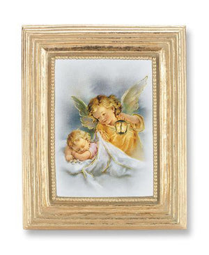 Guardian Angel Gold Stamped Print under Glass in a Gold Leaf Frame - Unique Catholic Gifts