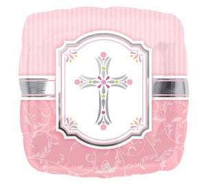 "18"" Square Pink Cross Balloon - Unique Catholic Gifts"