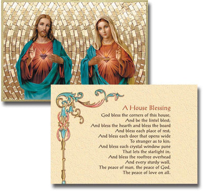 The Sacred Hearts Home Blessing  Gold Foil Mosaic Plaque (4 x 6