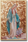 "Our Lady of Grace Gold Foil Mosaic Plaque (4 x 6"") - Unique Catholic Gifts"