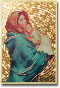 "Madonna of the Street Gold Foil Mosaic Plaque (4 x 6"") - Unique Catholic Gifts"