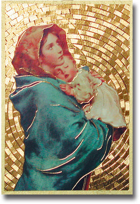 Madonna of the Street Gold Foil Mosaic Plaque (4 x 6