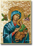 "Our Lady of Perpetual Help Gold Foil Mosaic Plaque (4 x 6"") - Unique Catholic Gifts"