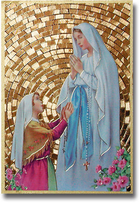 Our Lady of Lourdes Gold Foil Mosaic Plaque (4 x 6