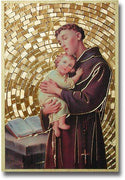 "Saint Anthony Gold Foil Mosaic Plaque (4 x 6"") - Unique Catholic Gifts"