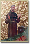 "Saint Francis Gold Foil Mosaic Plaque (4""x6"") - Unique Catholic Gifts"