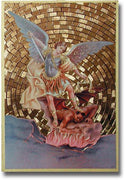 "Saint Michael Gold Foil Mosaic Plaque (4 x 6"") - Unique Catholic Gifts"