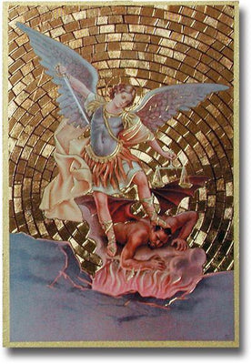 Saint Michael Gold Foil Mosaic Plaque (4 x 6