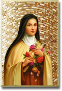 "Saint Therese of Lisieux Gold Foil Mosaic Plaque (4""x 6"" ) - Unique Catholic Gifts"