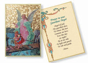 "Guardian Angel Crossing Bridge Italian Gold Foil Mosaic Plaque (4 x 6"") - Unique Catholic Gifts"