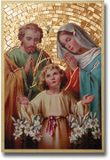 "Holy Family Gold Foil Mosaic Plaque (4 x 6"") - Unique Catholic Gifts"