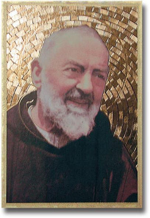 "Saint Pio Gold Foil Mosaic Plaque (4 x 6"") - Unique Catholic Gifts"