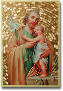 "Saint Joseph Gold Foil Mosaic Plaque (4 x 6"") - Unique Catholic Gifts"