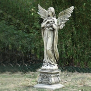 "48""H ANGEL HOLDING WREATH GARDEN STATUE - Unique Catholic Gifts"